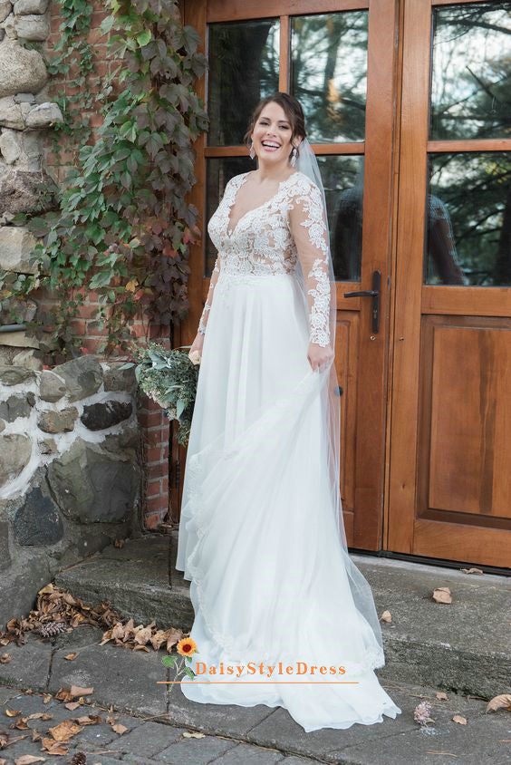 a line long sleeve wedding dress