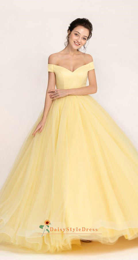 ball gown yellow prom dress