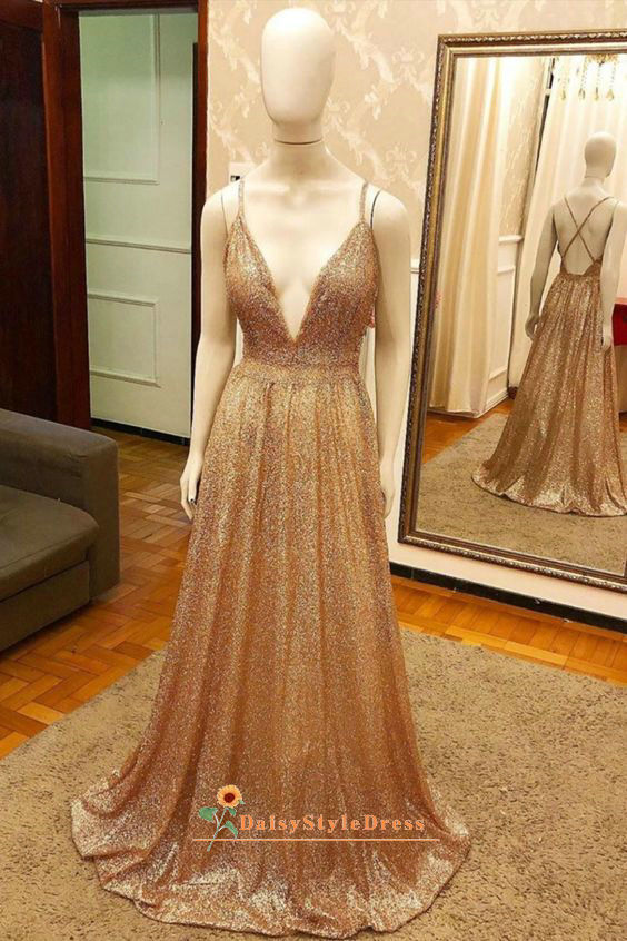 Sexy Deep V-neck Sparkle Gold Evening Dress
