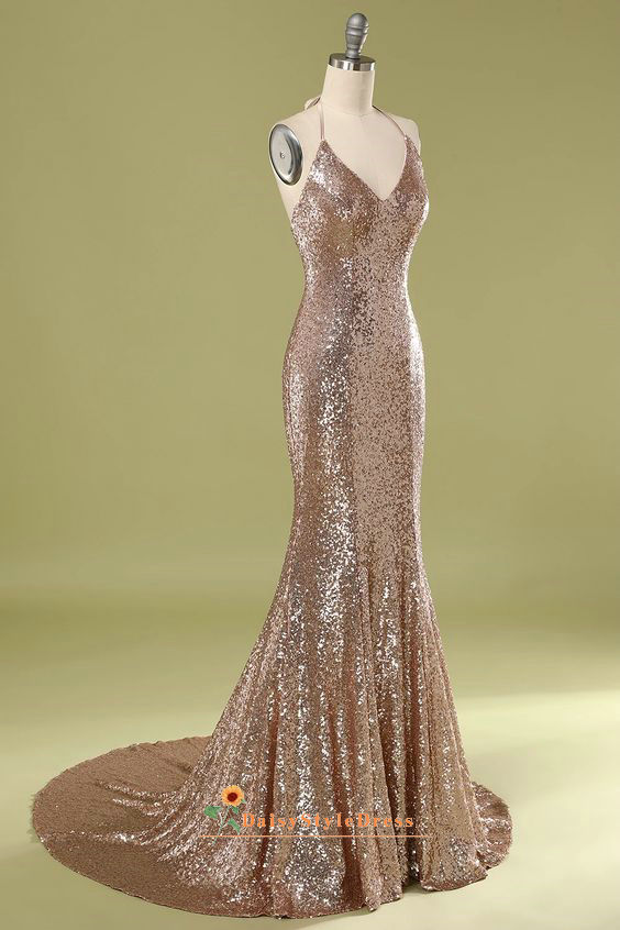 champagne evening dress
