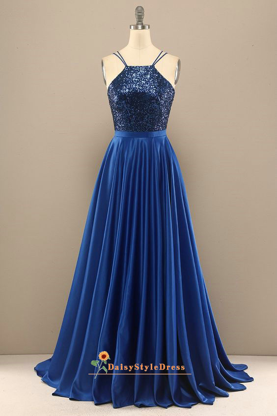 Double Straps Royal Blue Sequins Prom Dress