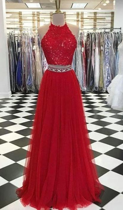 A line Two Piece Red Prom Dress - daisystyledress