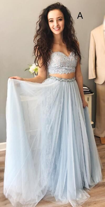 A line Two Piece Light Blue Prom Dress - daisystyledress
