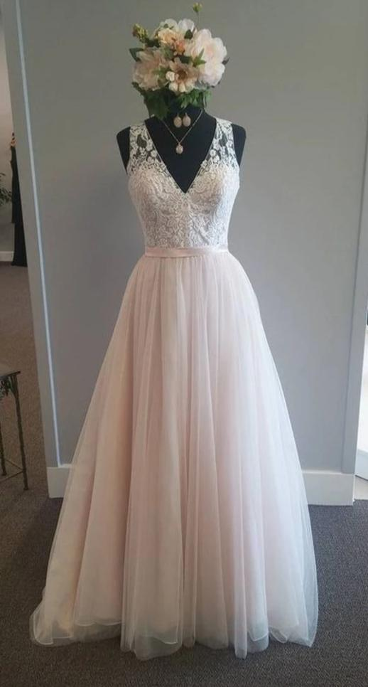 A line V-neck Blush Wedding Dress - daisystyledress