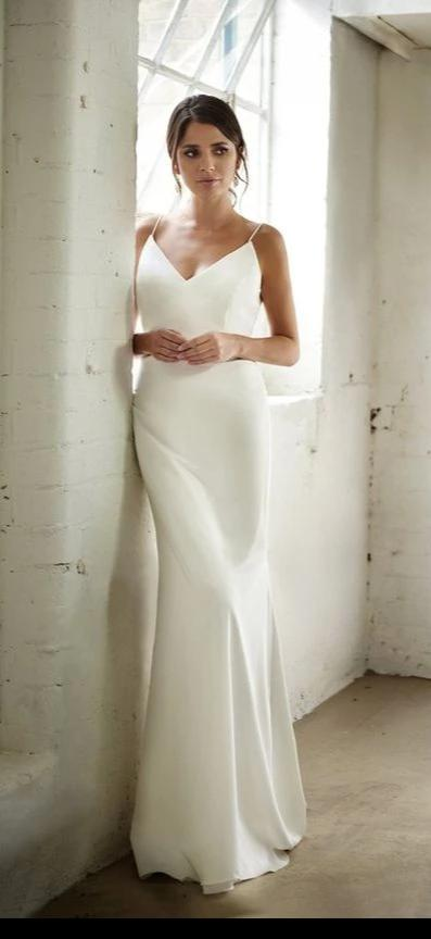 Sheath Spaghetti Straps Informal Wedding Dress - daisystyledress