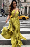 A line Spaghetti Straps Yellow Prom Dress - daisystyledress