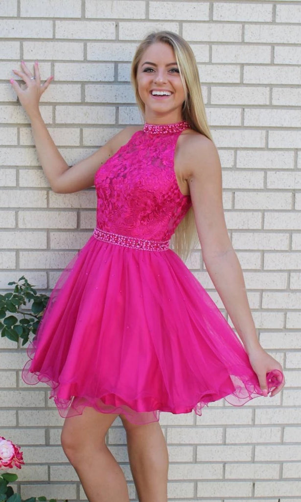 Short Halter Neckline Fuchsia Homecoming Dress - daisystyledress