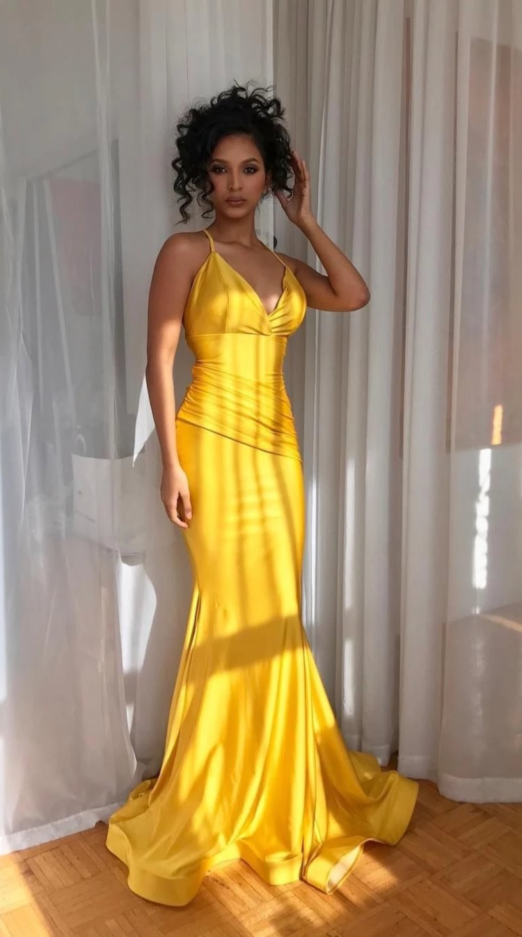 Mermaid Spaghetti Straps Yellow Evening Dress - daisystyledress