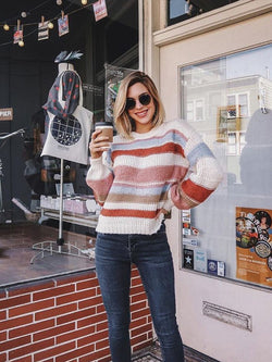 Fashion Striped Multicolor Knitted Sweater