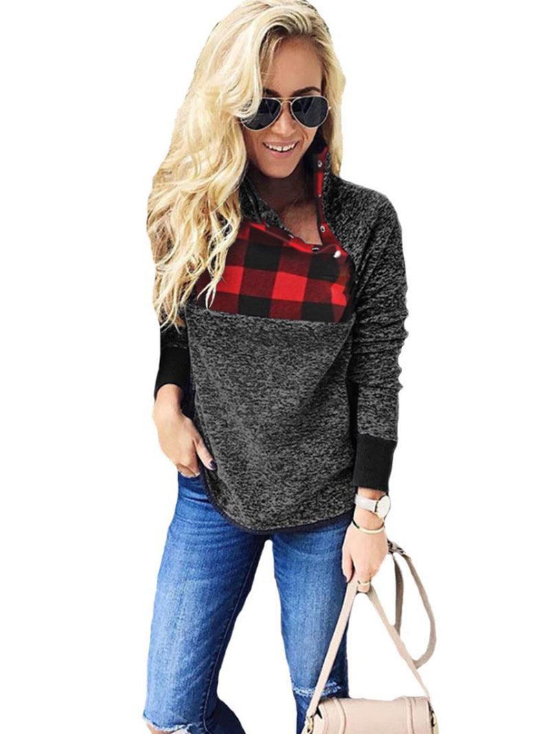 Long Sleeves Warm Oblique Button Neck Splice Geometric Pattern Fleece Pullover Coat Sweatshirts Outwear