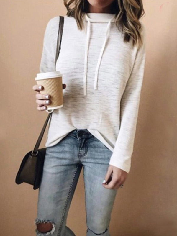 Woman Hat Collar Plain Long Sleeve Hoodies