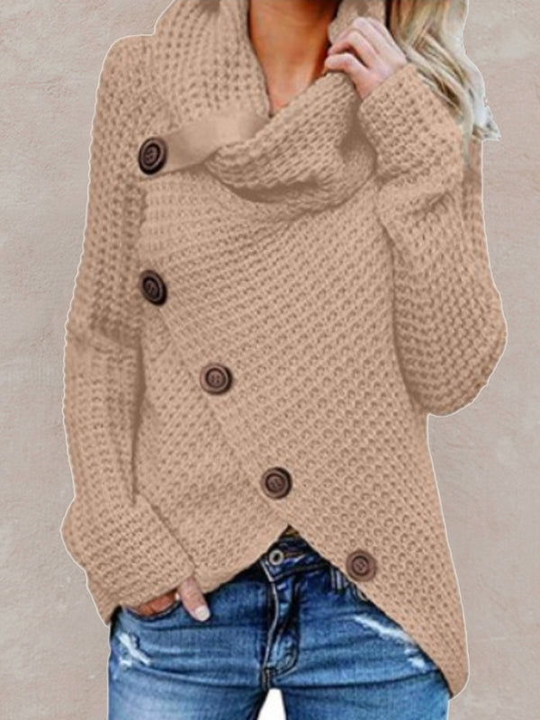 Women Unique Long-sleeve Turtleneck Wool Collar Irregular Sweater