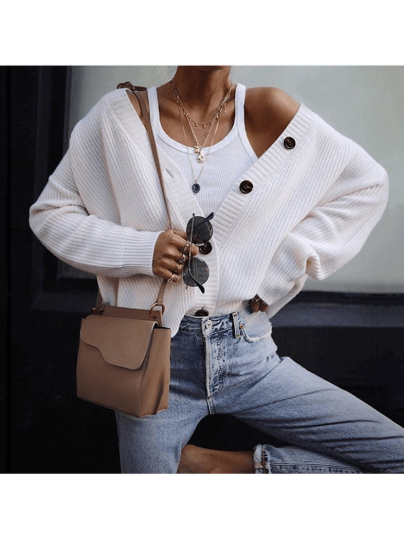 Single-breasted Long Sleeve Cardigan Sweater