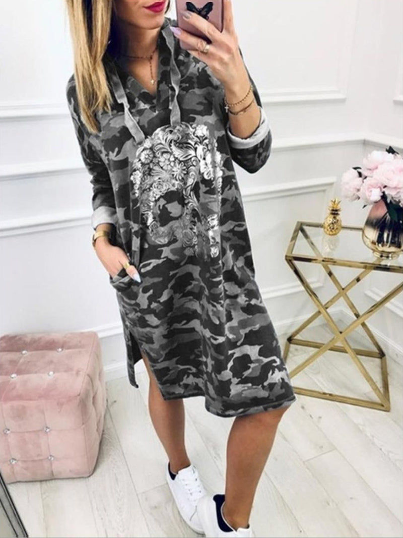 Women Hoodie  Dresses Shift Outdoor Basic Abstract Dresses