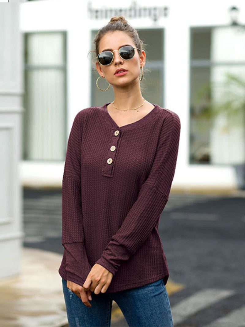V-Neck Loose Button Knit Blouses