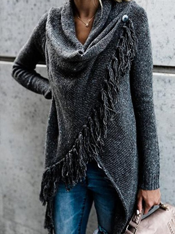 Women Knitted Winter Warm Cardigans Long Sleeve Tassel Sweater