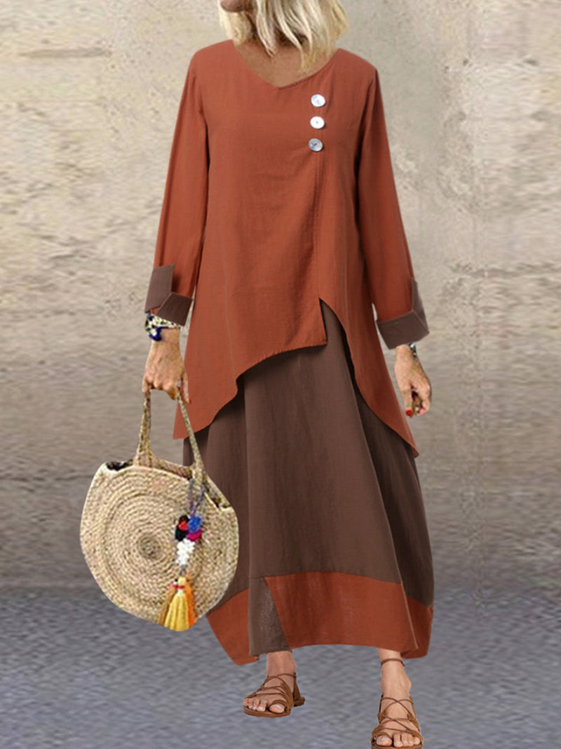 PLUSE SIZE Casual Round Neck Long Sleeve Dress