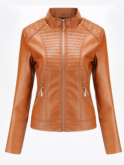 Women's leather jacket casual solid color coat