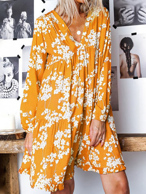 Plus Size V-neck Long Sleeve Floral Casual Midi Dress