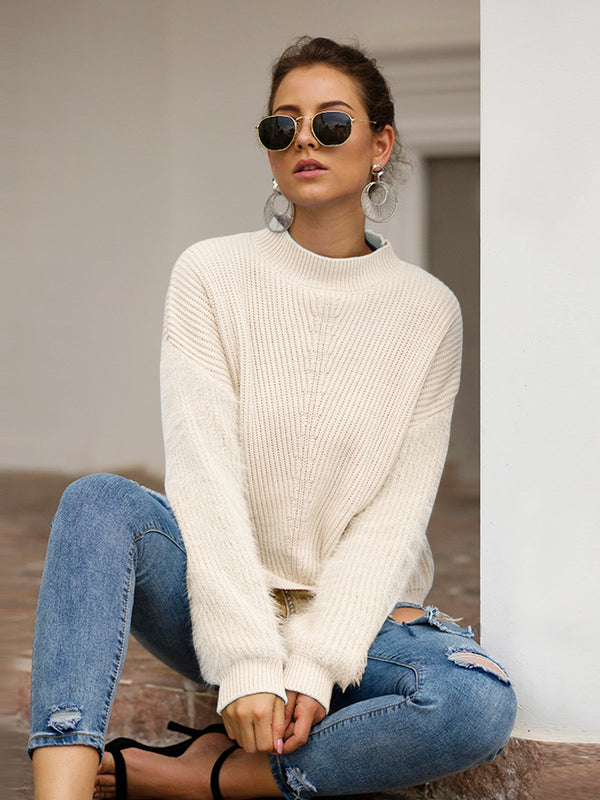 Stitching Loose Knit Mohair Sweater