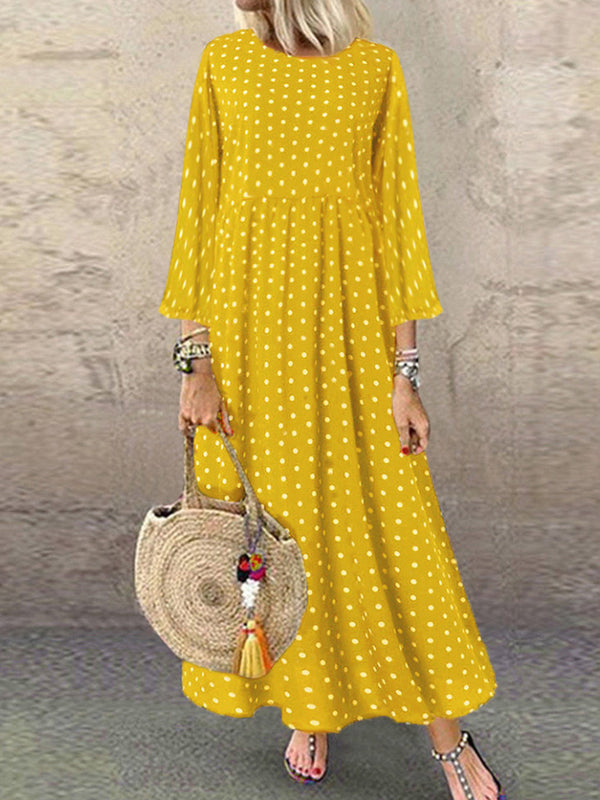 Polka Dot Pleated Chiffon Long Sleeve Casual Dress