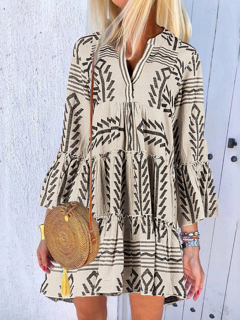 V-Neck Boho Flared Sleeve Splicing Printed A-Line Dress