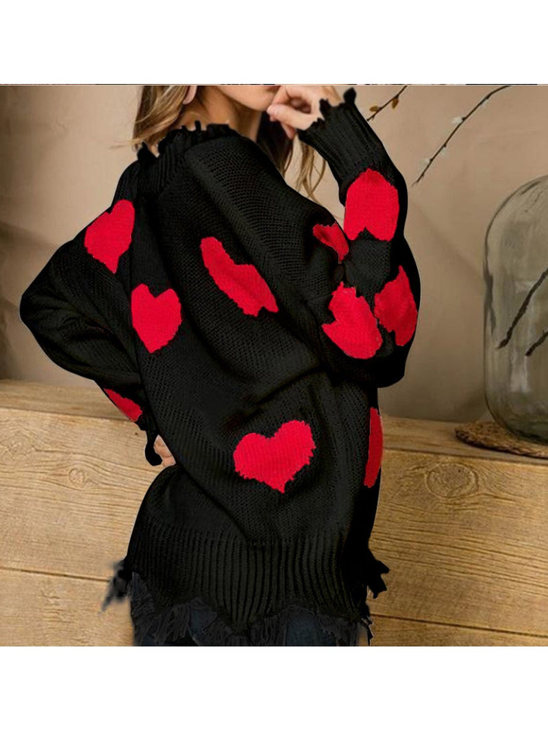 Women Heart Printed Love Sweaters