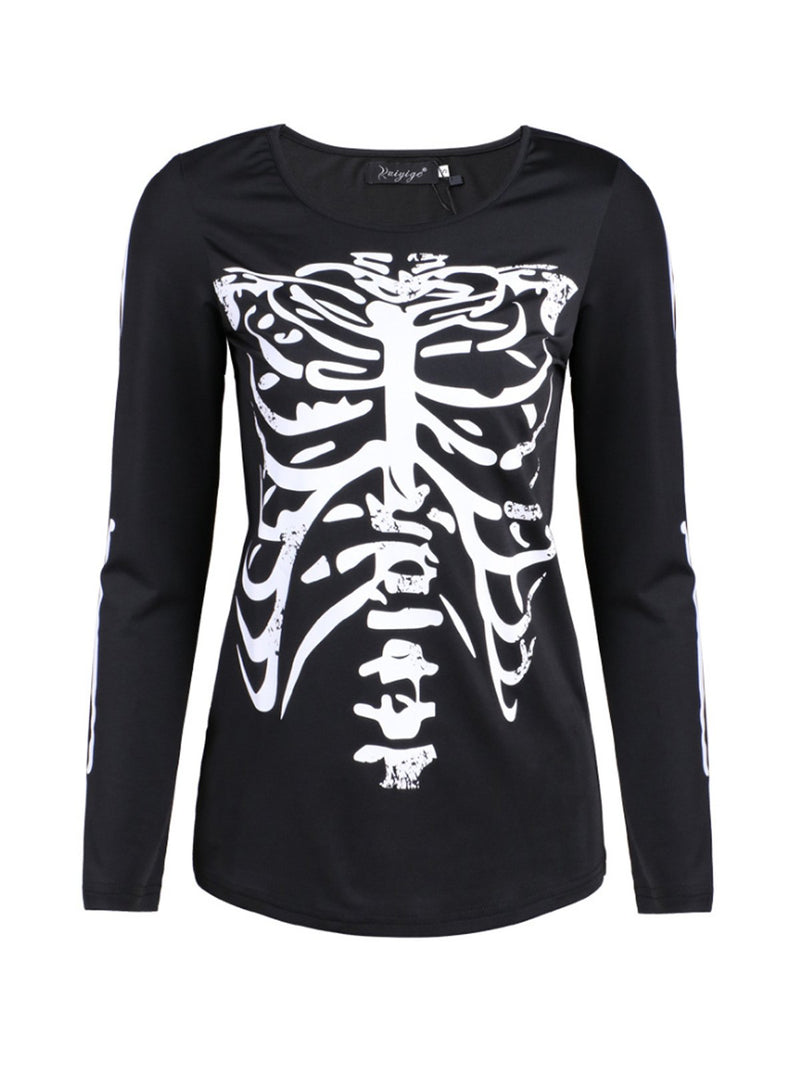 19 S/S Autumn New Halloween Skeleton Print Long-Sleeved T-Shirt
