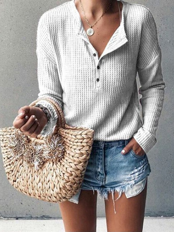 Button Long Sleeve Pure Color T-Shirt Crop Top