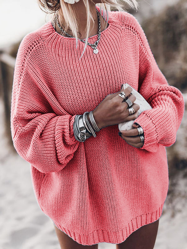Autumn And Winter Solid Ribbed Chunky knit Round Neck Sweaters