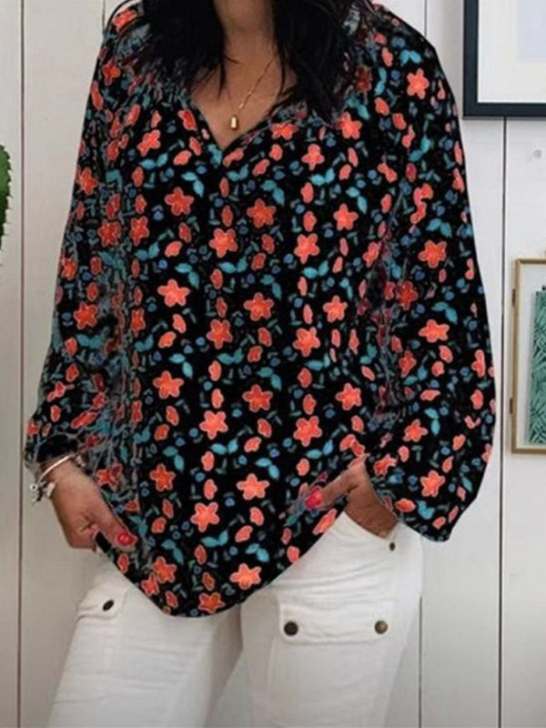 V-Neck Long-Sleeved Printed Loose Top