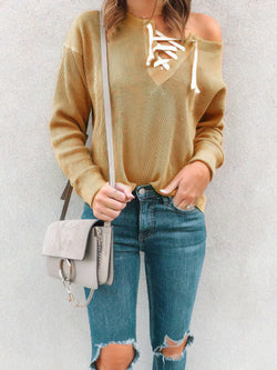 Autumn And Winter Classy Plain Lace-Up Long Sleeve Knitwear