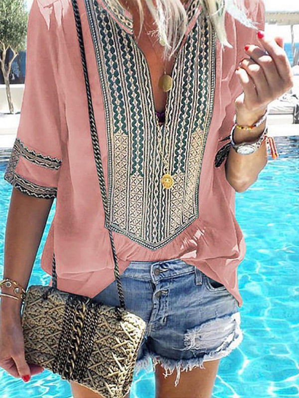 Casual Printed Short Sleeve V neck Tribal Plus Size Summer Blouse