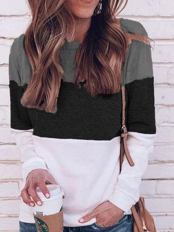 Casual round neck long sleeved color blouse
