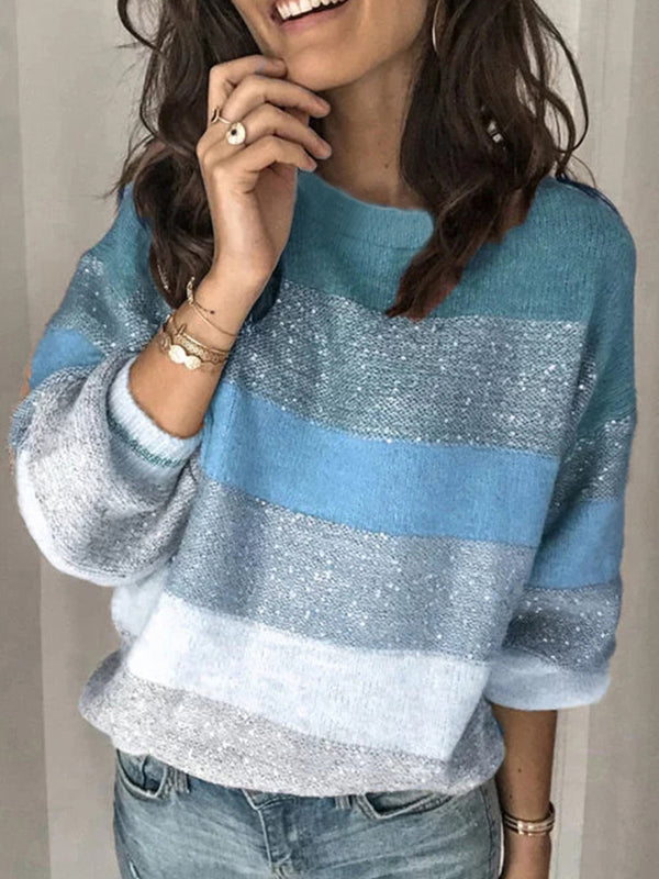 Casual round neck multicolor stitching sweater sweater