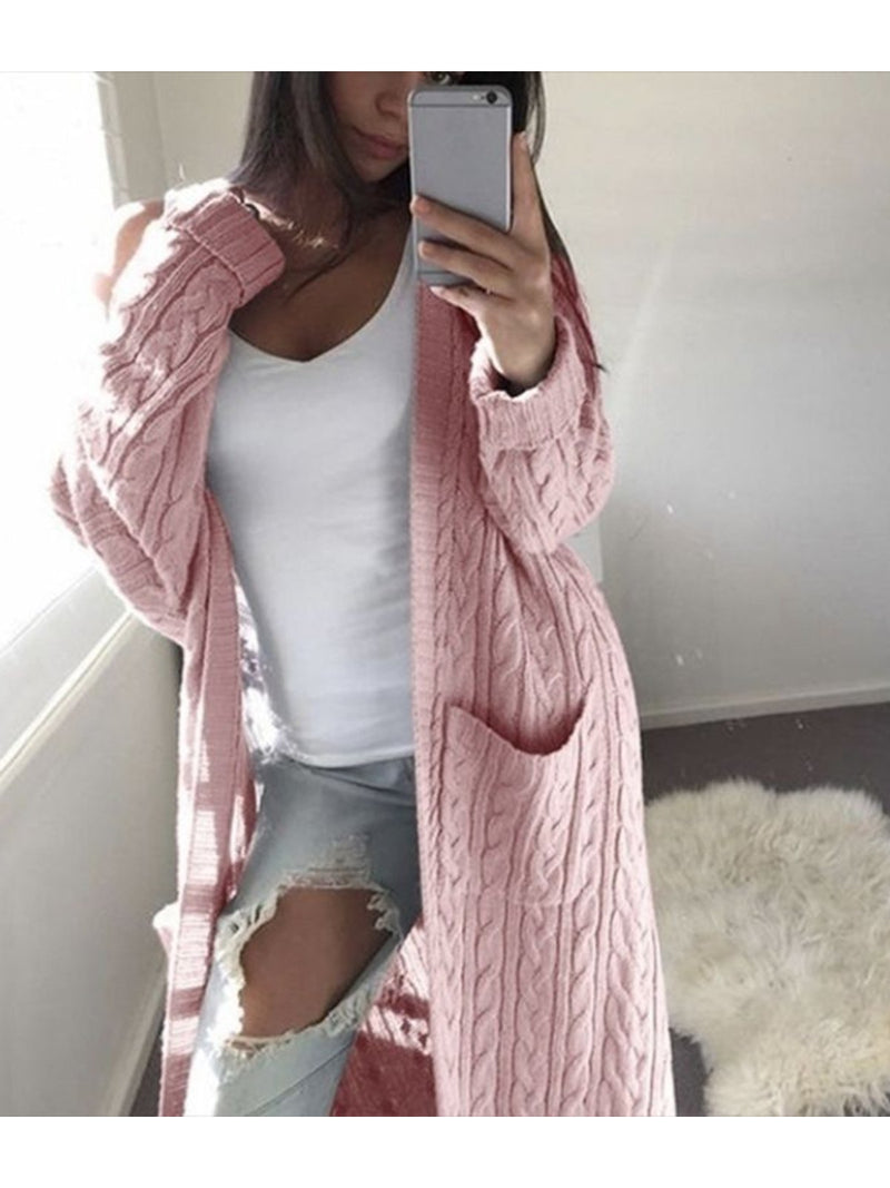 Women Fashion Long Sleeve Knitted Wool Cardigan With Pockets