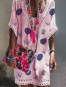 Bohemian Vacation V-Neck Lace Printed Dress