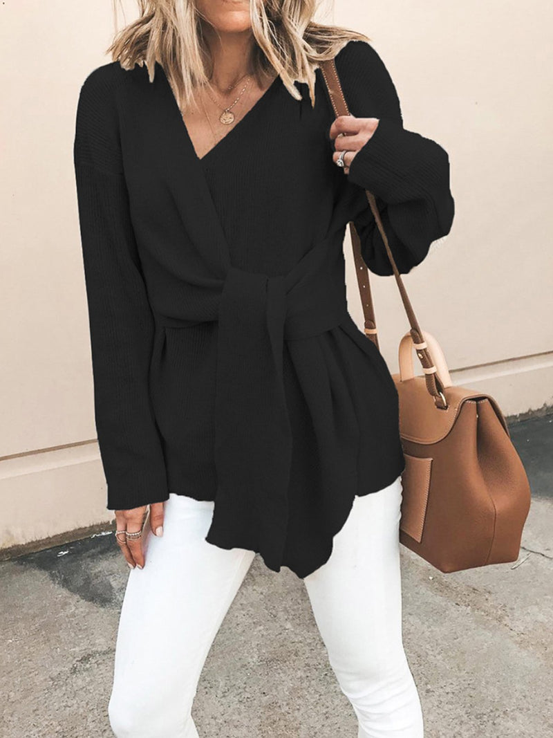 Fashion Women Tie Front Knitted Wrap Top