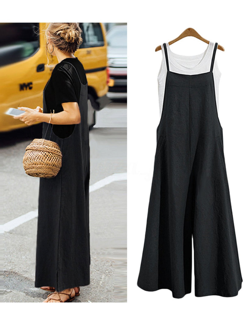 Summer Women Casual Loose Solid Tank Jumpsuit
