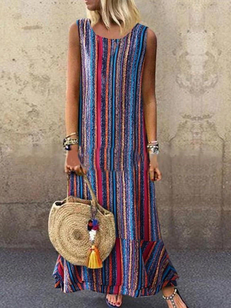 Fashion Printed Crew Neck Casual Maxi Dress