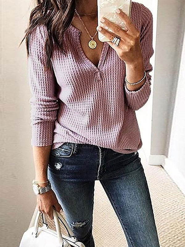 V Neck Solid Elegant Long Sleeve Blouses