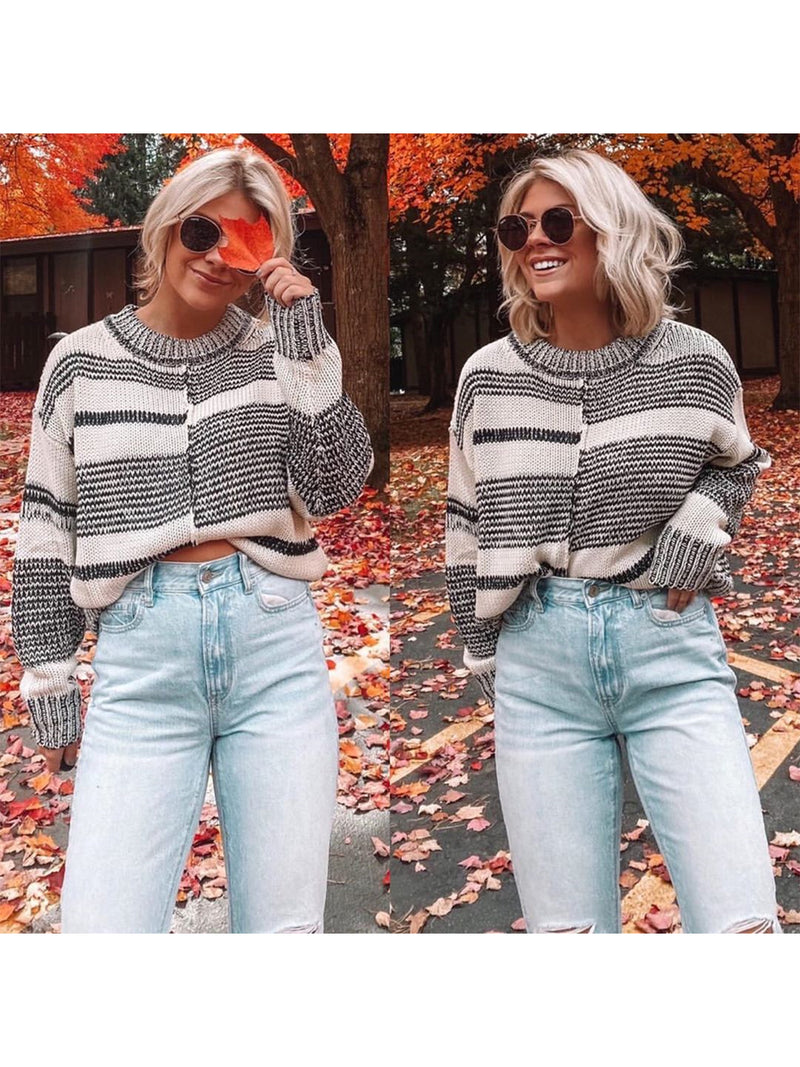 Autumn and winter striped sweater stitching pullover sweater
