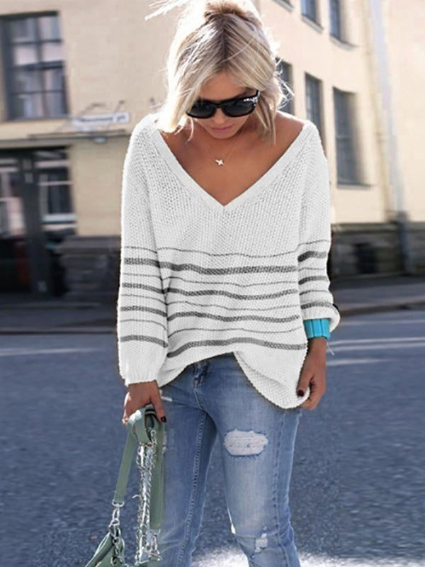 2019 Fall Women Plus Size Stripes Knitted Sweaters