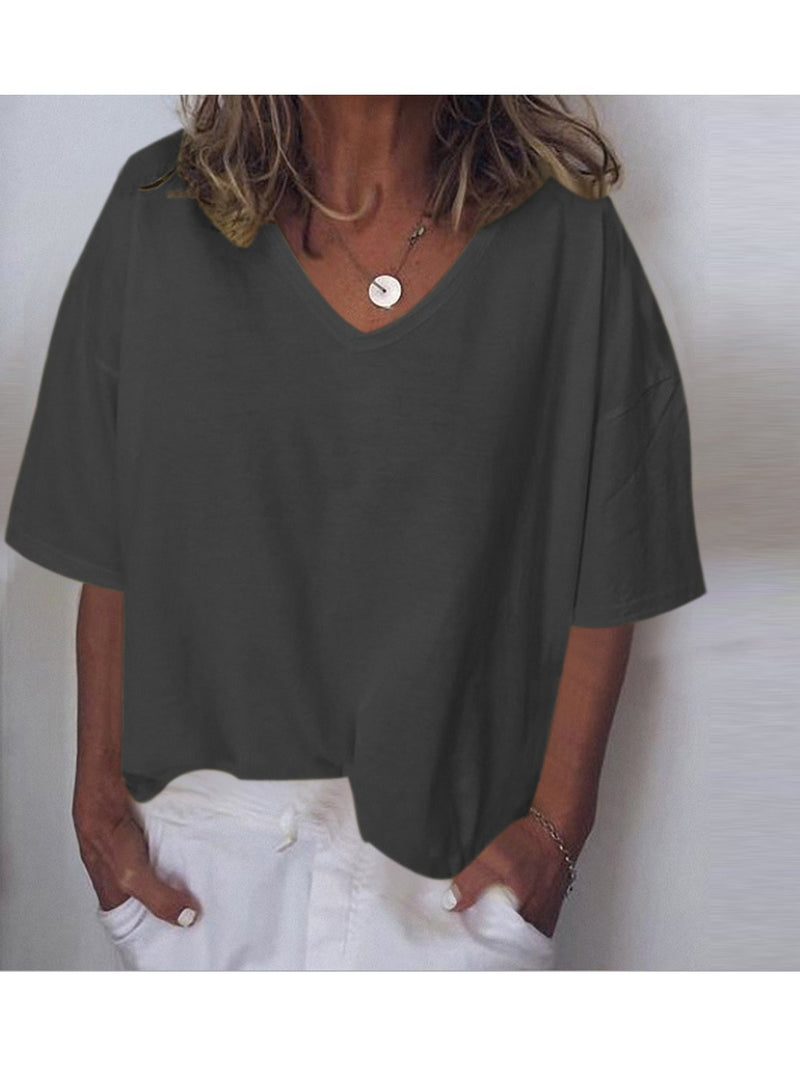 Summer V-neck Casual  T-shirts