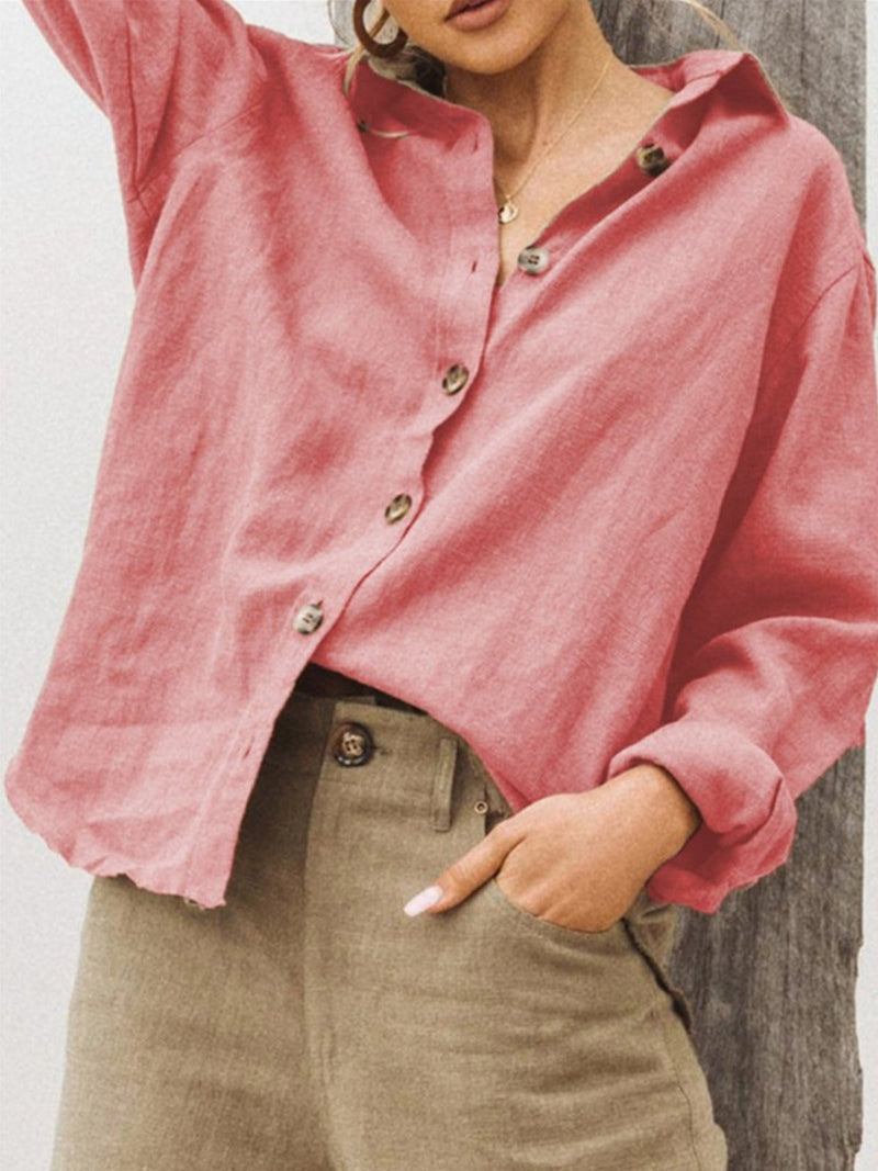 Shawl Neck Linen Solid  Long Sleeve Casual Shirts & Tops