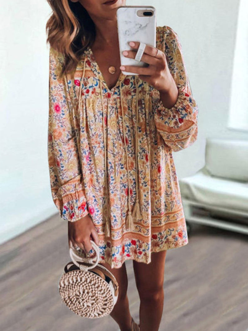 V Neck Long Sleeve Floral Print Ruffle Loose Mini Dress