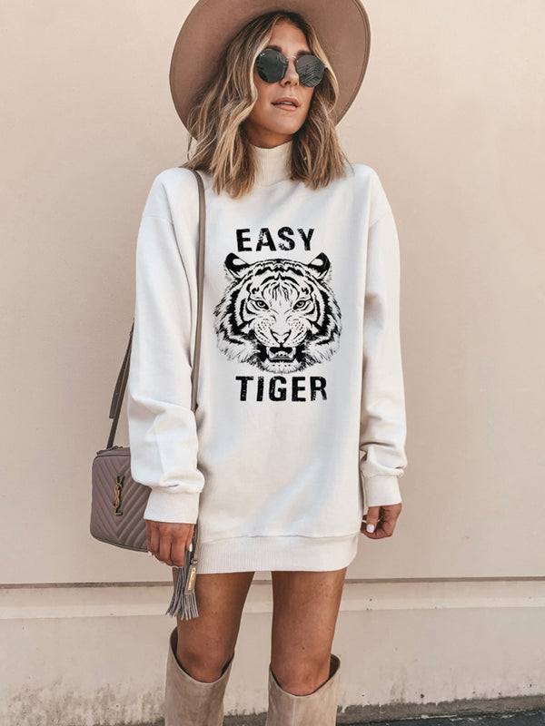 Autumn and winter Turtleneck Tiger Printed White Mini Dress