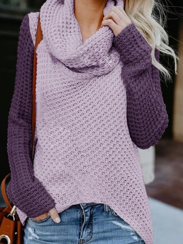 Asymmetrical Slit Cowl Neck Contrast color Knitted Sweater