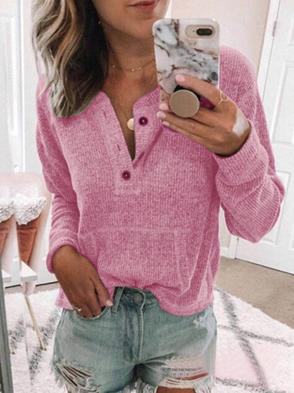 Solid Loose Regular Buttons Sweaters