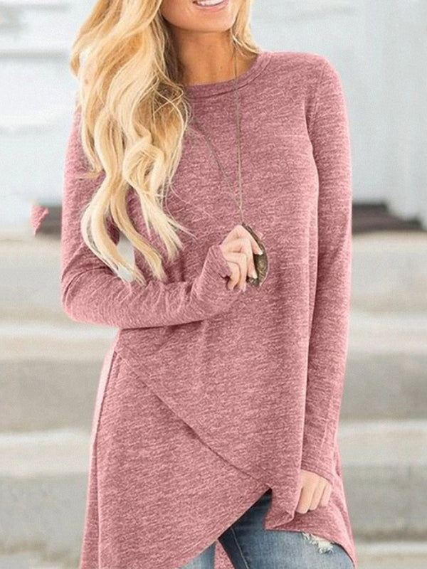 Autumn loose long sleeve irregular solid color T-shirt